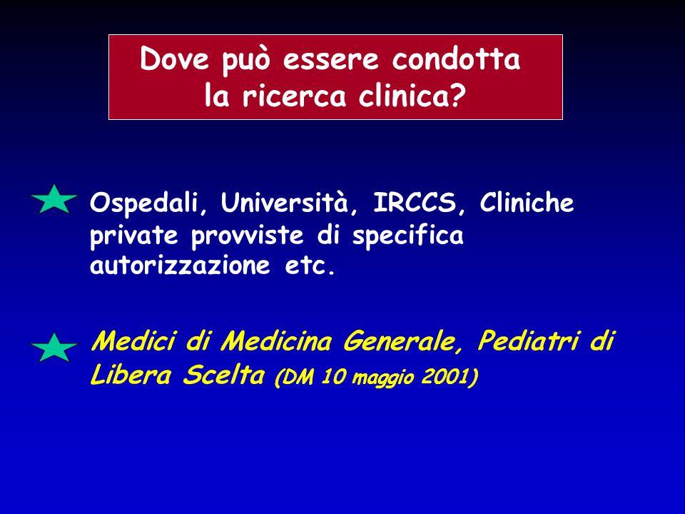 Ospedali, Università, IRCCS, Cliniche private provviste di specifica autorizzazione etc. Medici di Medicina Generale, Pediatri di Libera Scelta (DM 10