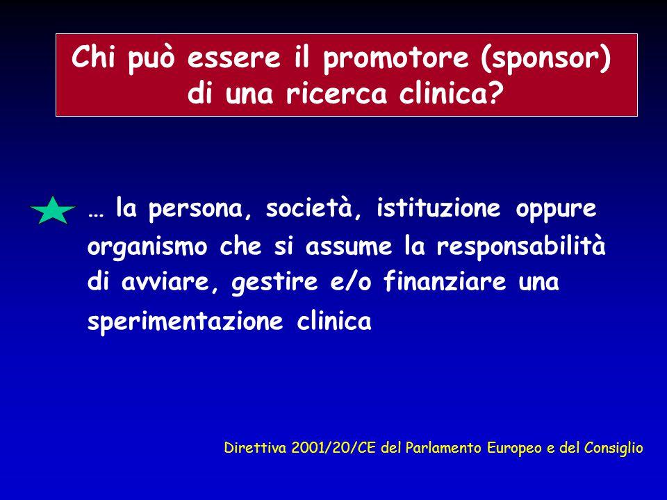 … la persona, società, istituzione oppure organismo che si assume la responsabilità di avviare, gestire e/o finanziare una sperimentazione clinica Chi
