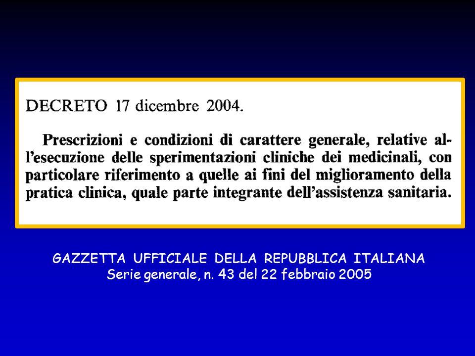 GAZZETTA UFFICIALE DELLA REPUBBLICA ITALIANA Serie generale, n. 43 del 22 febbraio 2005