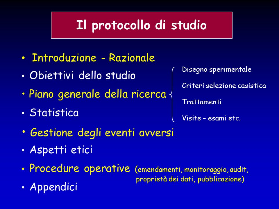 Il protocollo di studio Introduzione - Razionale Obiettivi dello studio Piano generale della ricerca Statistica Gestione degli eventi avversi Aspetti
