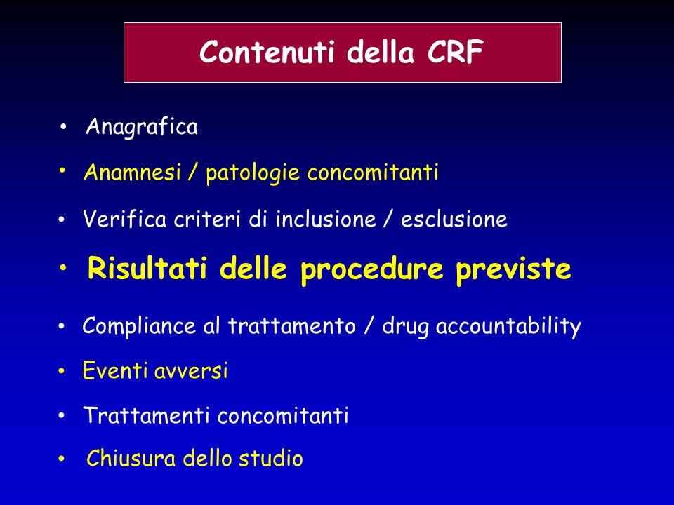 Contenuti della CRF Anamnesi / patologie concomitanti Verifica criteri di inclusione / esclusione Risultati delle procedure previste Compliance al tra