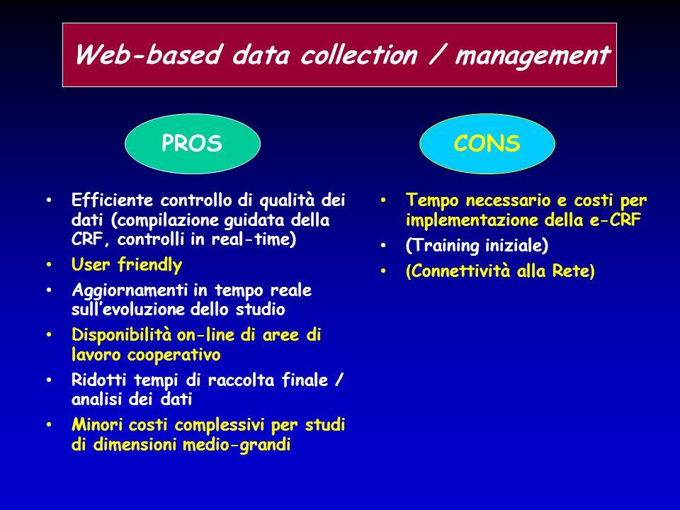 Efficiente controllo di qualità dei dati (compilazione guidata della CRF, controlli in real-time) User friendly Aggiornamenti in tempo reale sull'evol
