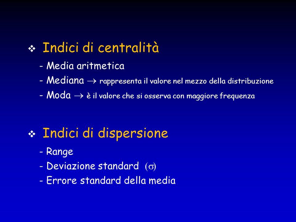  Indici di centralità - Media aritmetica - Mediana  rappresenta il valore nel mezzo della distribuzione - Moda  è il valore che si osserva con magg