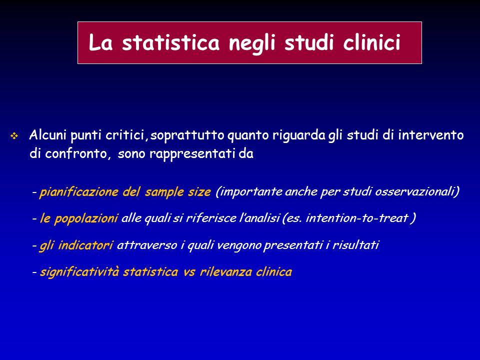  Alcuni punti critici, soprattutto quanto riguarda gli studi di intervento di confronto, sono rappresentati da - pianificazione del sample size (impo