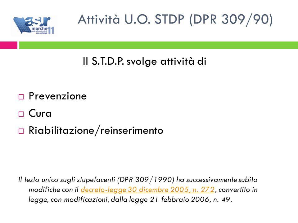 Attività U.O. STDP (DPR 309/90) Il S.T.D.P.