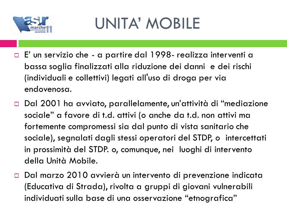 UNITA' MOBILE  E' un servizio che - a partire dal 1998- realizza interventi a bassa soglia finalizzati alla riduzione dei danni e dei rischi (individuali e collettivi) legati all uso di droga per via endovenosa.