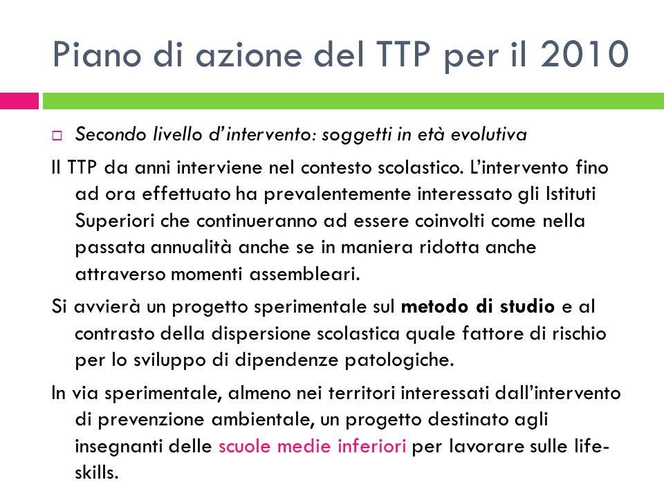 Piano di azione del TTP per il 2010  Secondo livello d'intervento: soggetti in età evolutiva Il TTP da anni interviene nel contesto scolastico.