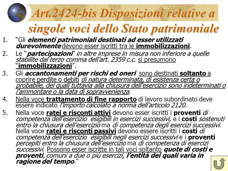 Art.2424-bis Disposizioni relative a singole voci dello Stato patrimoniale elementi patrimoniali destinati ad esser utilizzati durevolmenteimmobilizza
