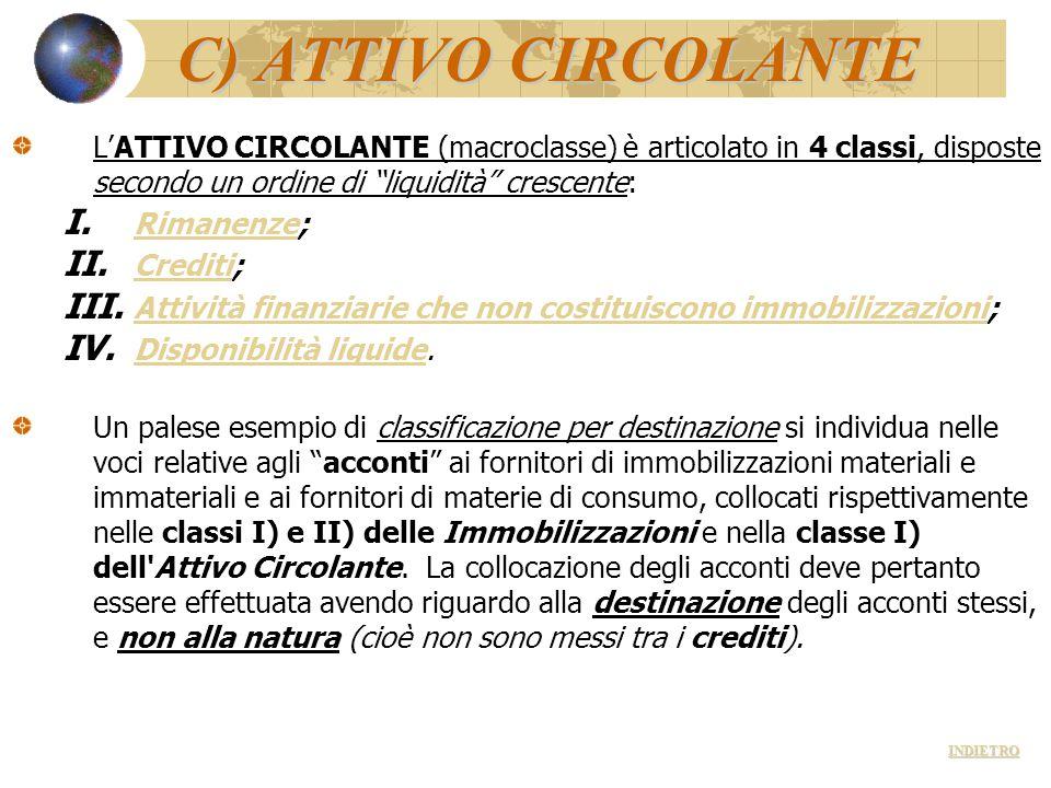 """C) ATTIVO CIRCOLANTE L'ATTIVO CIRCOLANTE (macroclasse) è articolato in 4 classi, disposte secondo un ordine di """"liquidità"""" crescente: I. Rimanenze; Ri"""