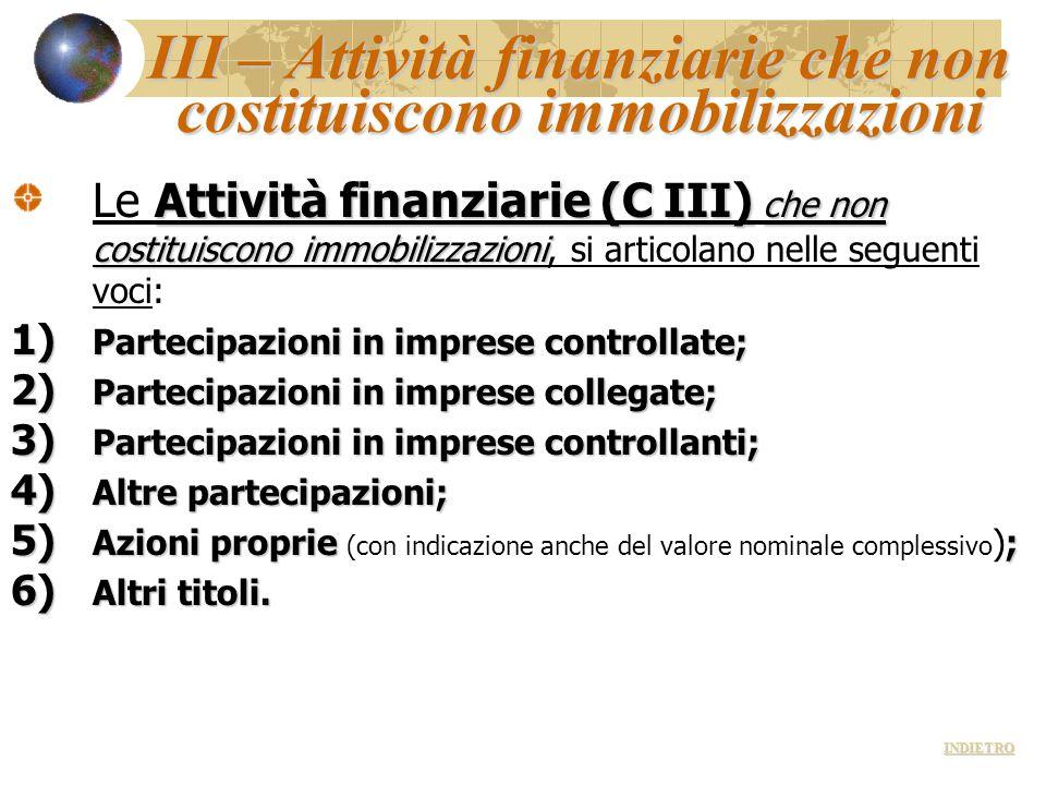 III – Attività finanziarie che non costituiscono immobilizzazioni Attività finanziarie (C III) che non costituiscono immobilizzazioni Le Attività fina