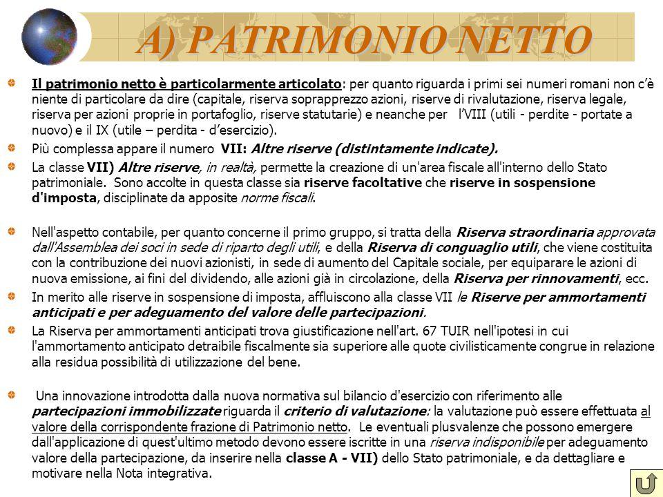 A) PATRIMONIO NETTO patrimonio netto Il patrimonio netto è particolarmente articolato: per quanto riguarda i primi sei numeri romani non c'è niente di