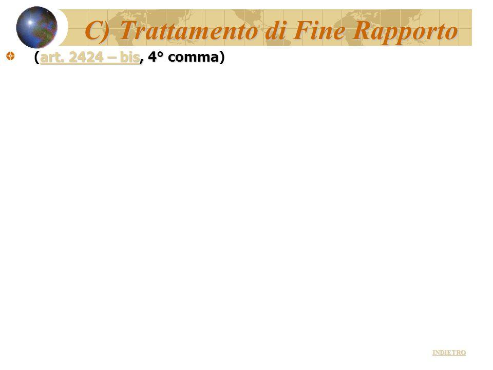 C) Trattamento di Fine Rapporto art. 2424 – bisart. 2424 – bis, 4° comma (art. 2424 – bis, 4° comma)art. 2424 – bis INDIETRO