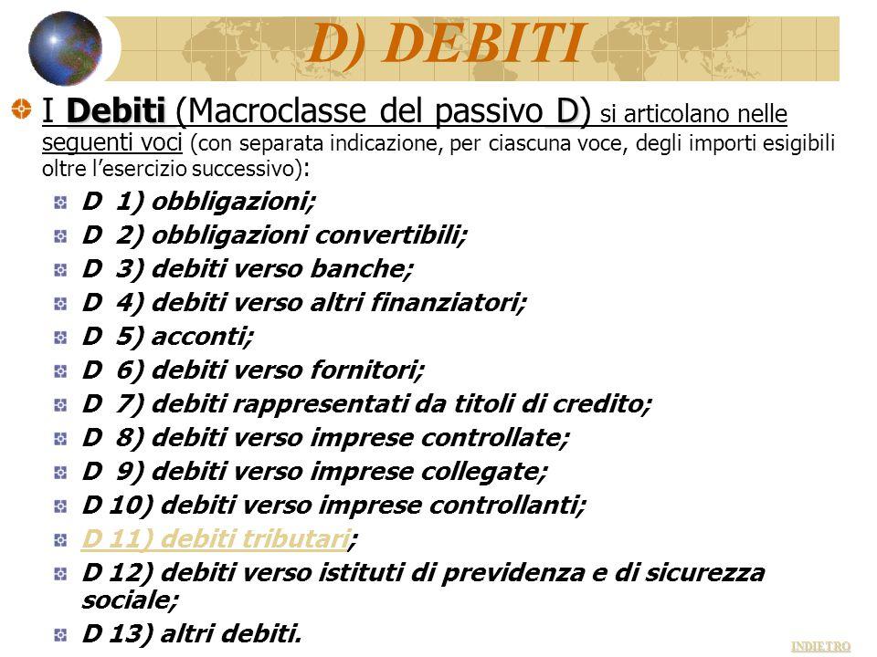 D) DEBITI Debiti D I Debiti (Macroclasse del passivo D) si articolano nelle seguenti voci (con separata indicazione, per ciascuna voce, degli importi