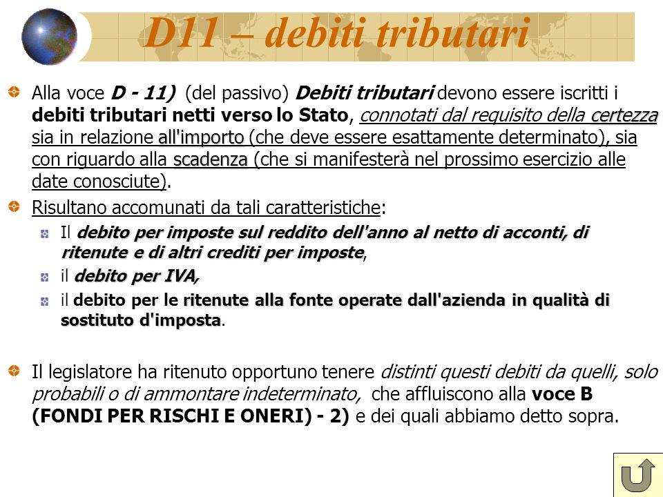 D11 – debiti tributari certezza all'importo scadenza Alla voce D - 11) (del passivo) Debiti tributari devono essere iscritti i debiti tributari netti