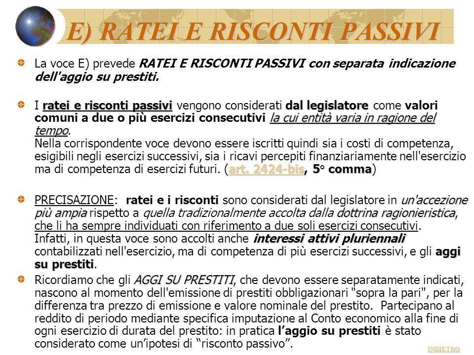 E) RATEI E RISCONTI PASSIVI La voce E) prevede RATEI E RISCONTI PASSIVI con separata indicazione dell'aggio su prestiti. ratei e risconti passividal l