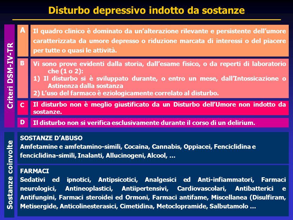 Il quadro clinico è dominato da un'alterazione rilevante e persistente dell'umore caratterizzata da umore depresso o riduzione marcata di interessi o