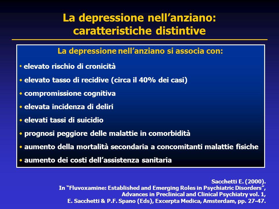 La depressione nell'anziano si associa con: elevato rischio di cronicità elevato tasso di recidive (circa il 40% dei casi) compromissione cognitiva el
