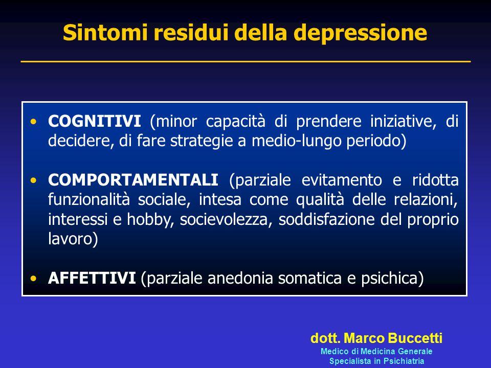 Sintomi residui della depressione COGNITIVI (minor capacità di prendere iniziative, di decidere, di fare strategie a medio-lungo periodo) COMPORTAMENT