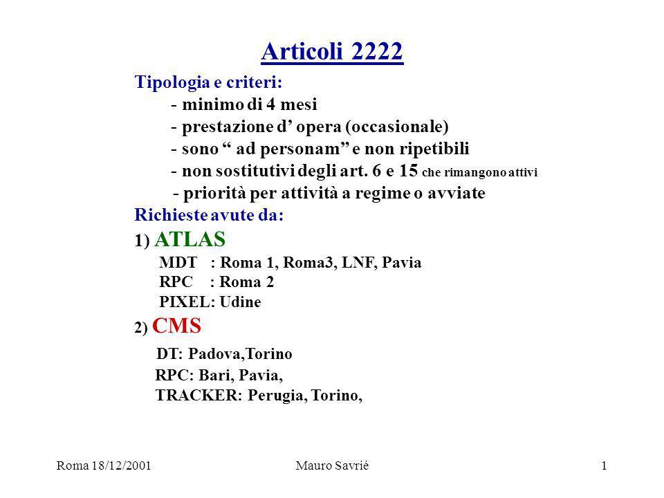 Roma 18/12/2001Mauro Savrié1 Articoli 2222 Tipologia e criteri: - minimo di 4 mesi - prestazione d' opera (occasionale) - sono ad personam e non ripetibili - non sostitutivi degli art.