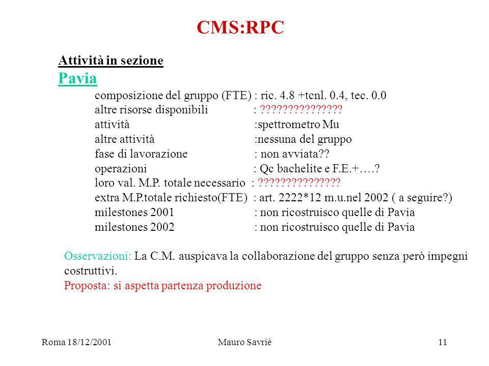 Roma 18/12/2001Mauro Savrié11 CMS:RPC Attività in sezione Pavia composizione del gruppo (FTE) : ric.