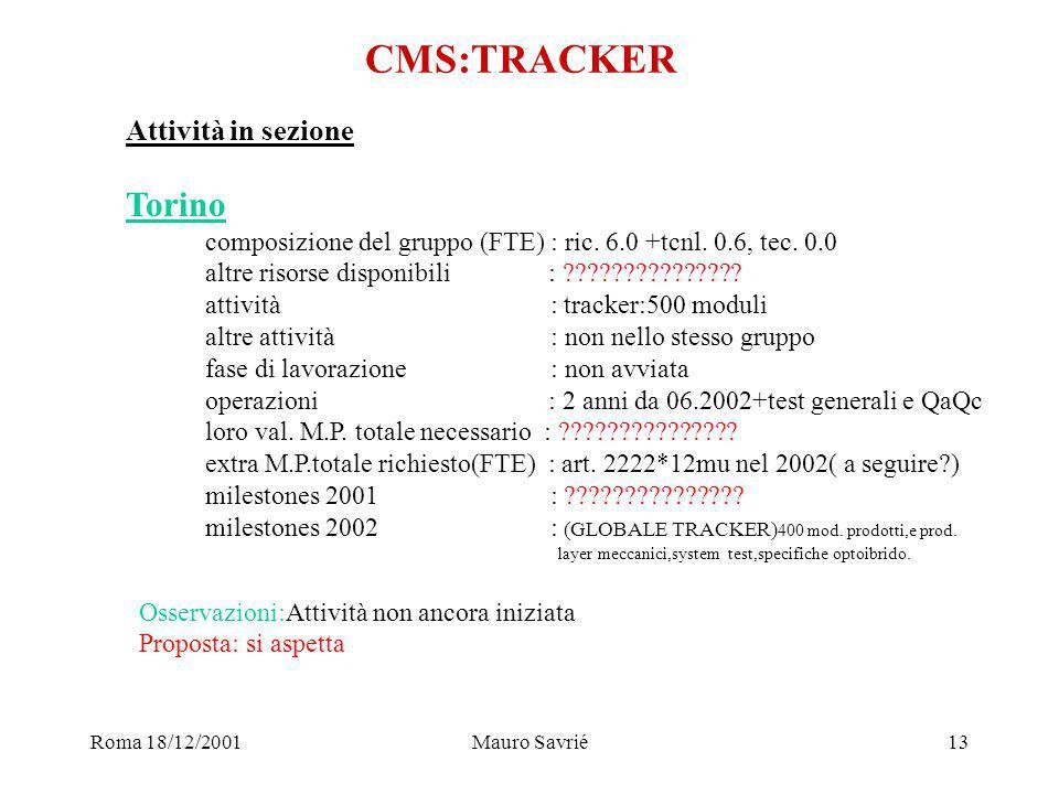 Roma 18/12/2001Mauro Savrié13 CMS:TRACKER Attività in sezione Torino composizione del gruppo (FTE) : ric.