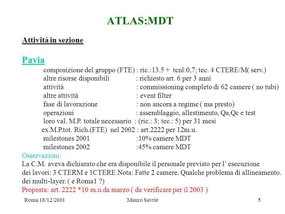 Roma 18/12/2001Mauro Savrié6 ATLAS:PIXEL Attività in sezione Udine composizione del gruppo (FTE) : ric.:6,3+tcnl: 1,5; tec.: 0 altre risorse disponibili : nessuno ( servizi univ.