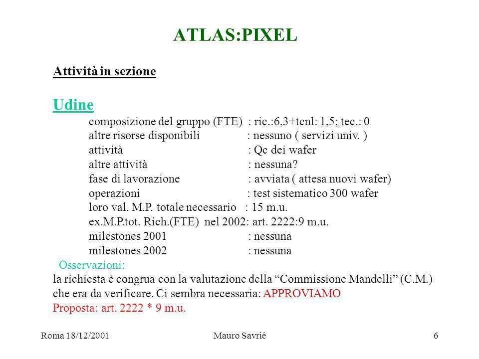Roma 18/12/2001Mauro Savrié7 ATLAS:RPC Attività in sezione Roma2 composizione del gruppo (FTE) : ric.:6,2 + tcnl:0,2; tec.:3,1 altre risorse disponibili : F.A.I.+2 art.