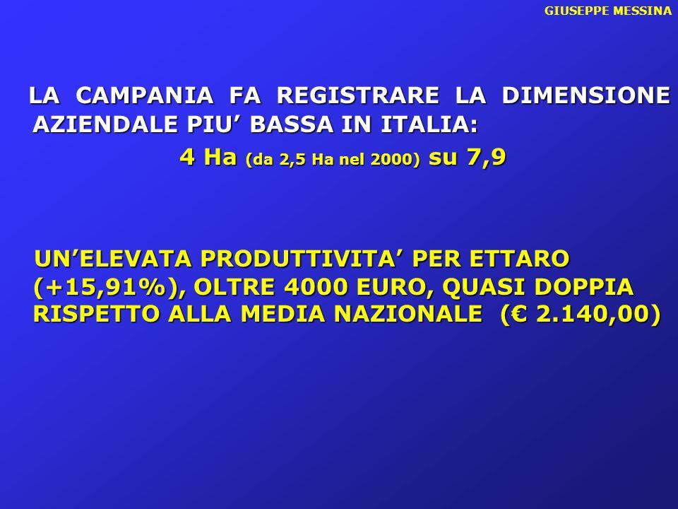GIUSEPPE MESSINA LA CAMPANIA FA REGISTRARE LA DIMENSIONE AZIENDALE PIU' BASSA IN ITALIA: 4 Ha (da 2,5 Ha nel 2000) su 7,9 4 Ha (da 2,5 Ha nel 2000) su