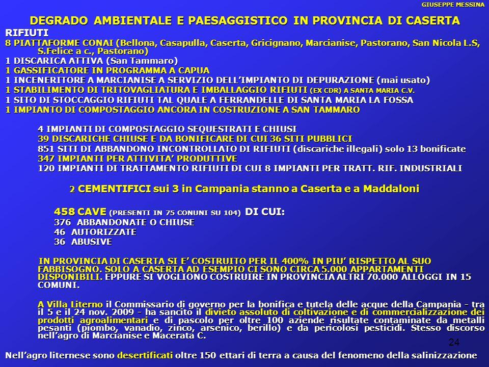 24 GIUSEPPE MESSINA DEGRADO AMBIENTALE E PAESAGGISTICO IN PROVINCIA DI CASERTA RIFIUTI 8 PIATTAFORME CONAI (Bellona, Casapulla, Caserta, Gricignano, M
