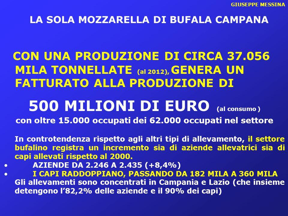 GIUSEPPE MESSINA LA SOLA MOZZARELLA DI BUFALA CAMPANA CON UNA PRODUZIONE DI CIRCA 37.056 MILA TONNELLATE (al 2012), GENERA UN FATTURATO ALLA PRODUZION