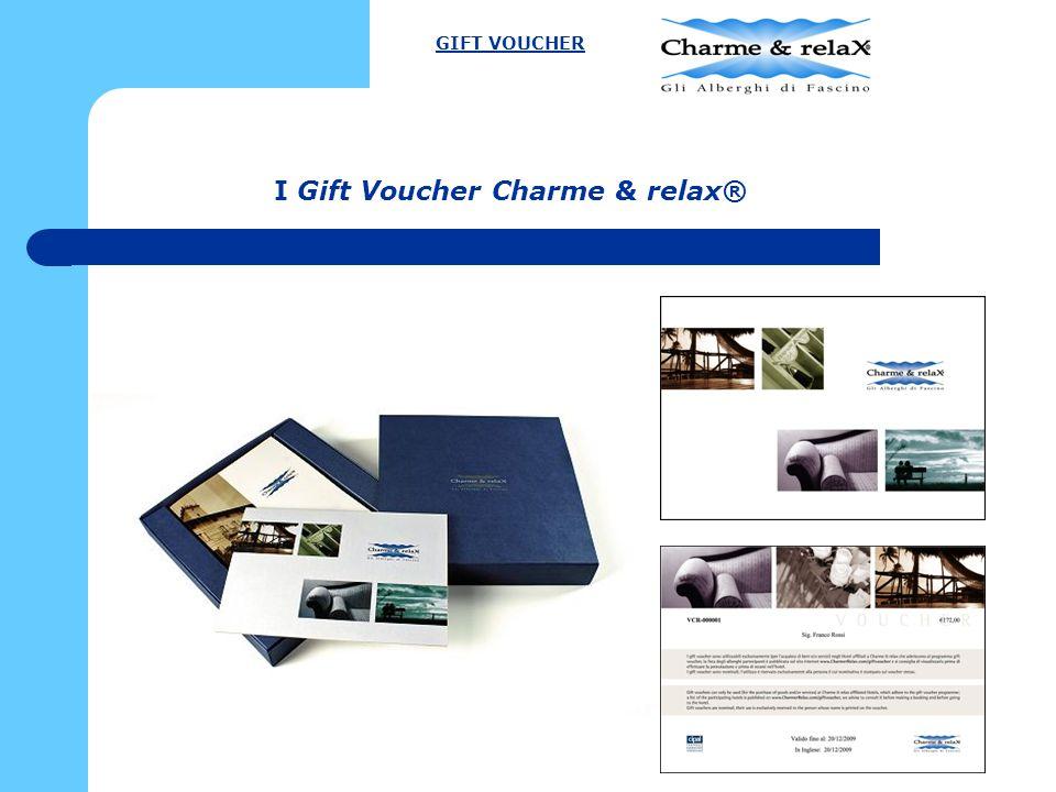 GIFT VOUCHER CHARME & RELAX® Dopo due anni dal lancio dell'iniziativa (da novembre 2008): 2009 (solo Travel Check): € 55.000 2010:€ 70.000 2011 (al 30/09/2011):€ 61.000 GIFT VOUCHER