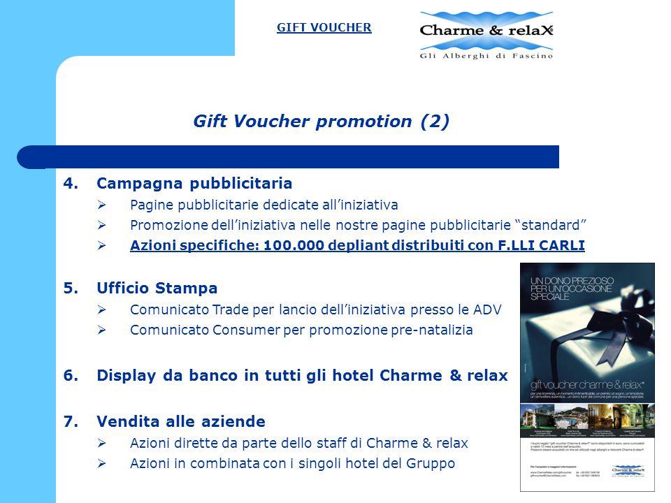 Gift Voucher promotion (2) 4.Campagna pubblicitaria  Pagine pubblicitarie dedicate all'iniziativa  Promozione dell'iniziativa nelle nostre pagine pu