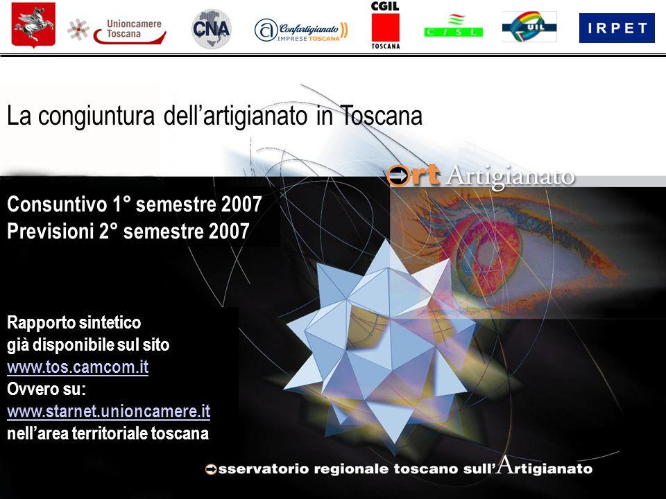 Rapporto sintetico già disponibile sul sito www.tos.camcom.it Ovvero su: www.starnet.unioncamere.it nell'area territoriale toscana La congiuntura dell'artigianato in Toscana Consuntivo 1° semestre 2007 Previsioni 2° semestre 2007
