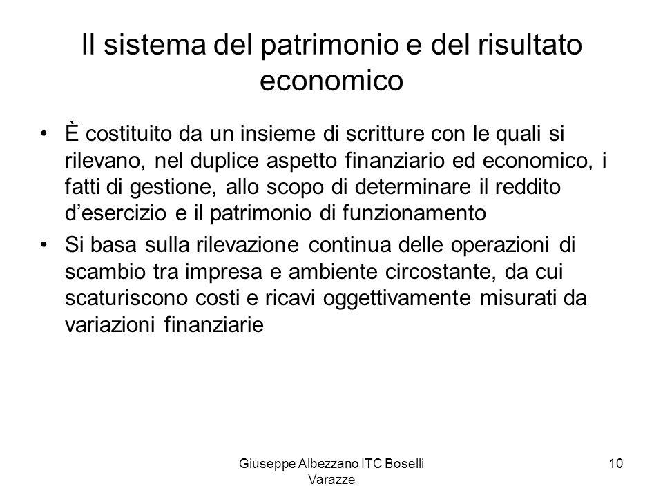 Giuseppe Albezzano ITC Boselli Varazze 10 Il sistema del patrimonio e del risultato economico È costituito da un insieme di scritture con le quali si
