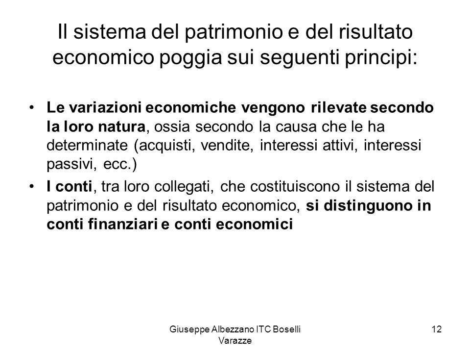 Giuseppe Albezzano ITC Boselli Varazze 12 Il sistema del patrimonio e del risultato economico poggia sui seguenti principi: Le variazioni economiche v