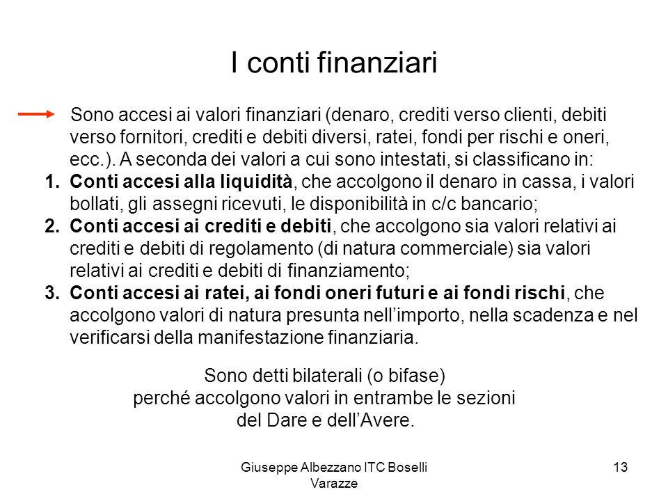 Giuseppe Albezzano ITC Boselli Varazze 13 I conti finanziari Sono accesi ai valori finanziari (denaro, crediti verso clienti, debiti verso fornitori,