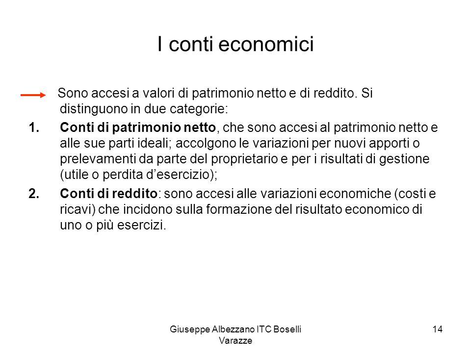 Giuseppe Albezzano ITC Boselli Varazze 14 I conti economici Sono accesi a valori di patrimonio netto e di reddito. Si distinguono in due categorie: 1.