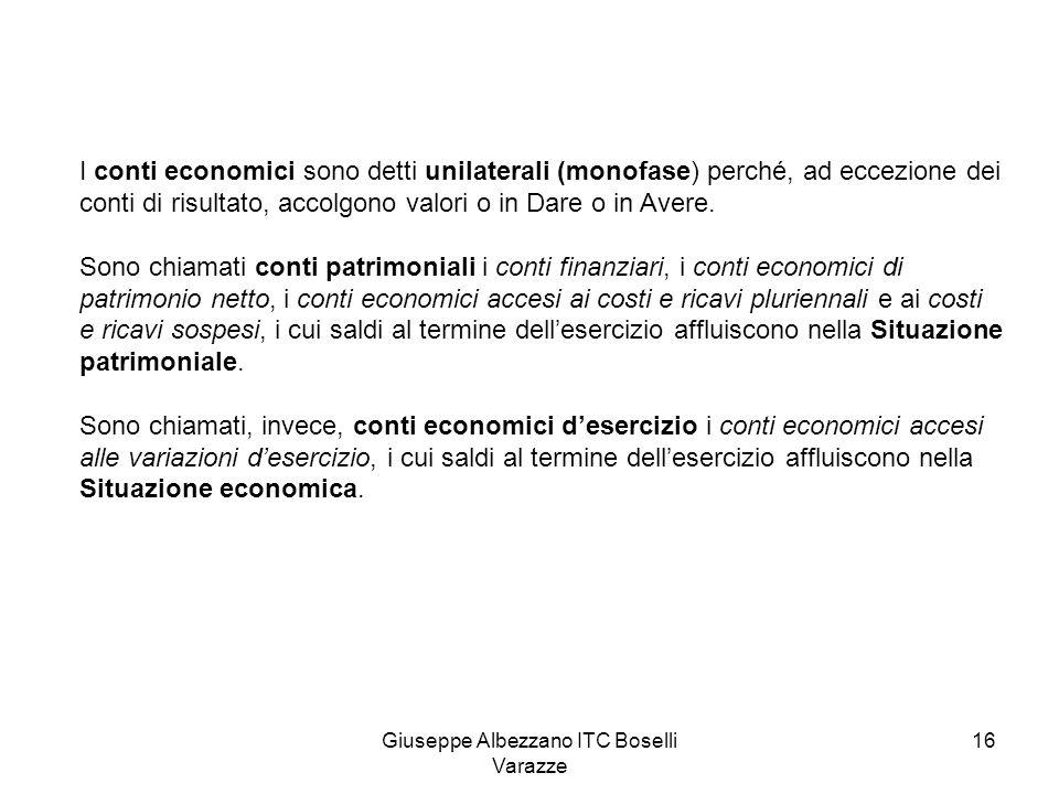 Giuseppe Albezzano ITC Boselli Varazze 16 I conti economici sono detti unilaterali (monofase) perché, ad eccezione dei conti di risultato, accolgono v