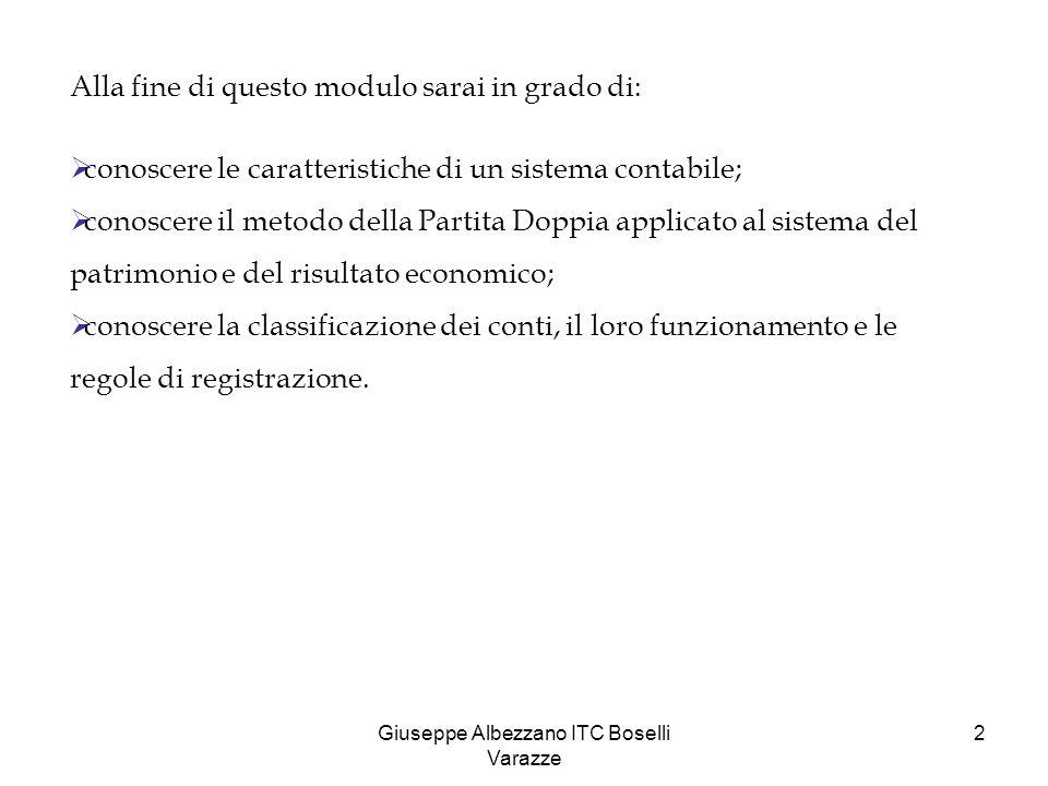 Giuseppe Albezzano ITC Boselli Varazze 2 Alla fine di questo modulo sarai in grado di:  conoscere le caratteristiche di un sistema contabile;  conos