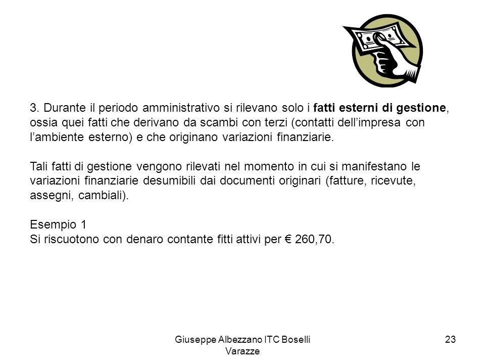 Giuseppe Albezzano ITC Boselli Varazze 23 3. Durante il periodo amministrativo si rilevano solo i fatti esterni di gestione, ossia quei fatti che deri