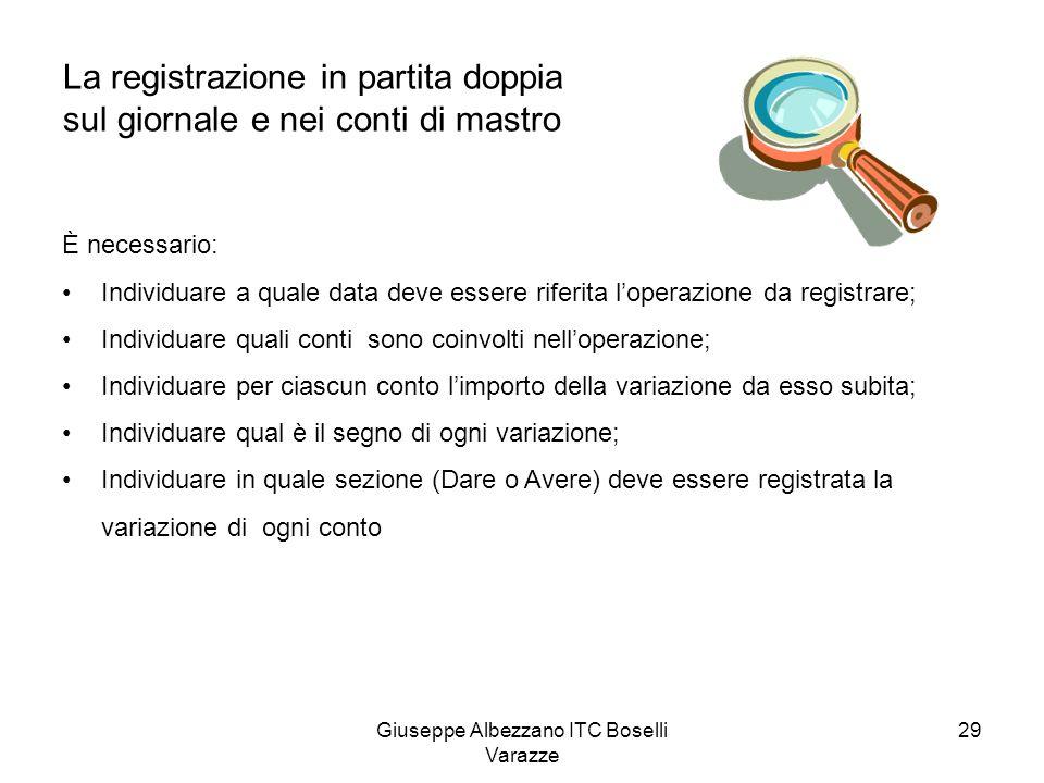 Giuseppe Albezzano ITC Boselli Varazze 29 La registrazione in partita doppia sul giornale e nei conti di mastro È necessario: Individuare a quale data