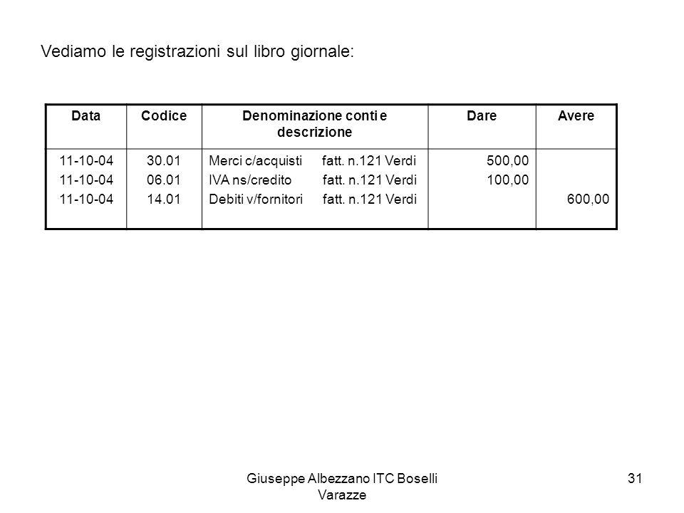 Giuseppe Albezzano ITC Boselli Varazze 31 Vediamo le registrazioni sul libro giornale: DataCodiceDenominazione conti e descrizione DareAvere 11-10-04