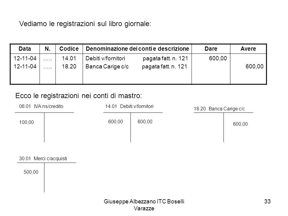 Giuseppe Albezzano ITC Boselli Varazze 33 Vediamo le registrazioni sul libro giornale: DataN.CodiceDenominazione dei conti e descrizioneDareAvere 12-1