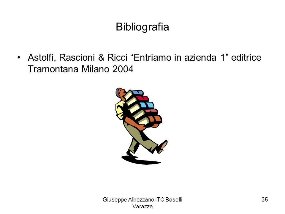 """Giuseppe Albezzano ITC Boselli Varazze 35 Bibliografia Astolfi, Rascioni & Ricci """"Entriamo in azienda 1"""" editrice Tramontana Milano 2004"""