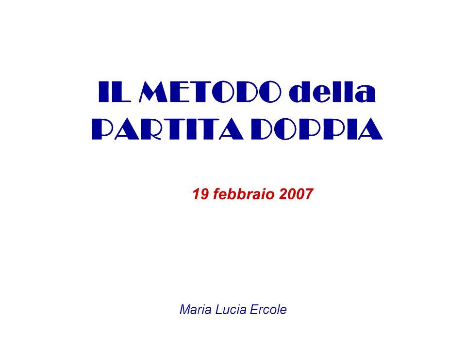 IL METODO della PARTITA DOPPIA 19 febbraio 2007 Maria Lucia Ercole