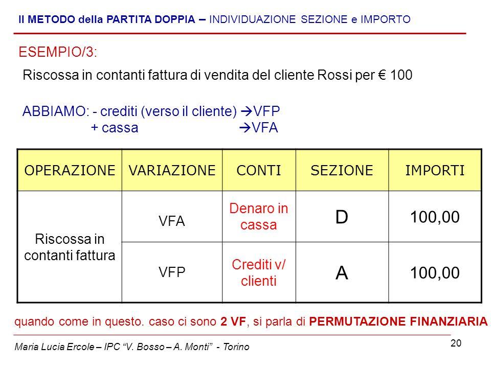 """20 Maria Lucia Ercole – IPC """"V. Bosso – A. Monti"""" - Torino Il METODO della PARTITA DOPPIA – INDIVIDUAZIONE SEZIONE e IMPORTO Riscossa in contanti fatt"""