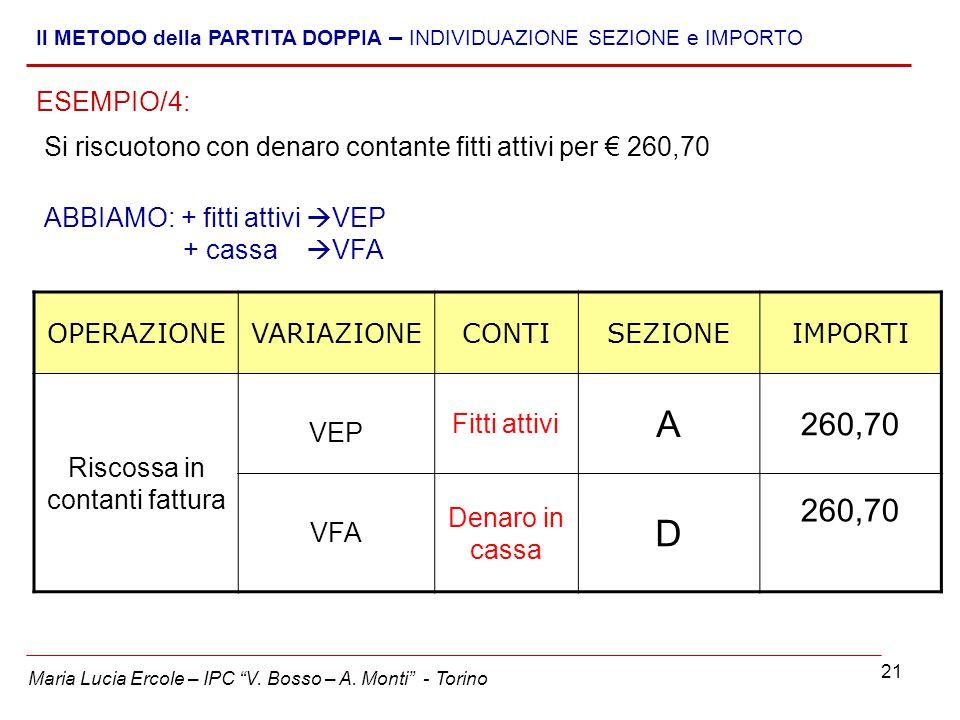 """21 Maria Lucia Ercole – IPC """"V. Bosso – A. Monti"""" - Torino Il METODO della PARTITA DOPPIA – INDIVIDUAZIONE SEZIONE e IMPORTO Si riscuotono con denaro"""