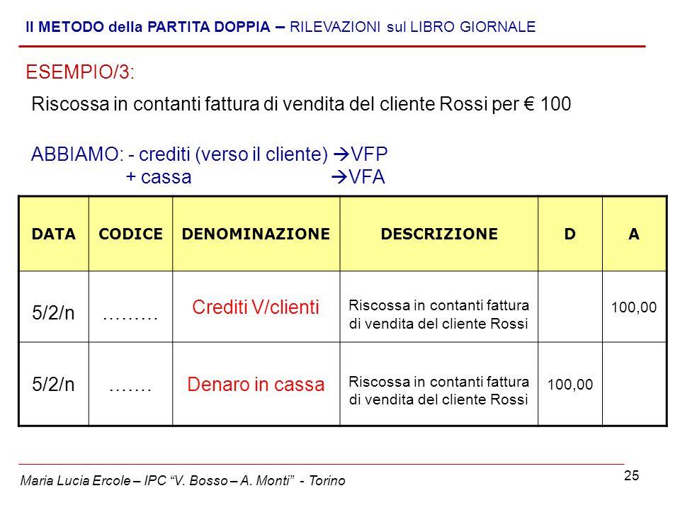 """25 Maria Lucia Ercole – IPC """"V. Bosso – A. Monti"""" - Torino Il METODO della PARTITA DOPPIA – RILEVAZIONI sul LIBRO GIORNALE Riscossa in contanti fattur"""