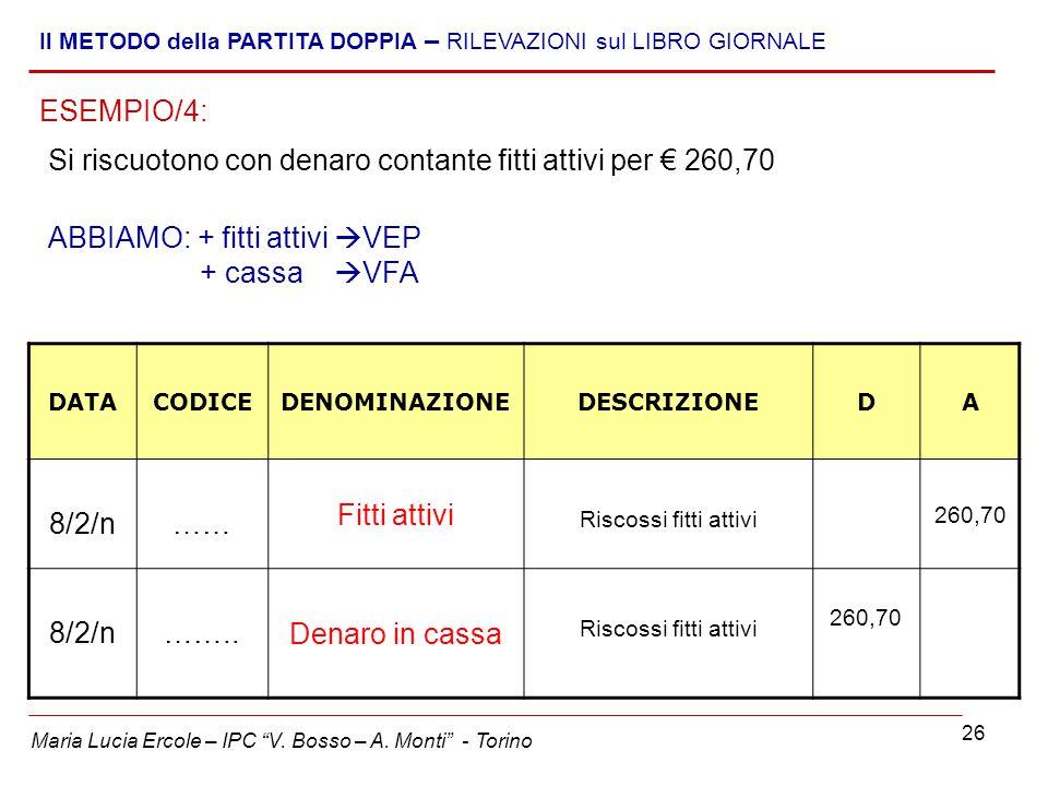 """26 Maria Lucia Ercole – IPC """"V. Bosso – A. Monti"""" - Torino Il METODO della PARTITA DOPPIA – RILEVAZIONI sul LIBRO GIORNALE Si riscuotono con denaro co"""
