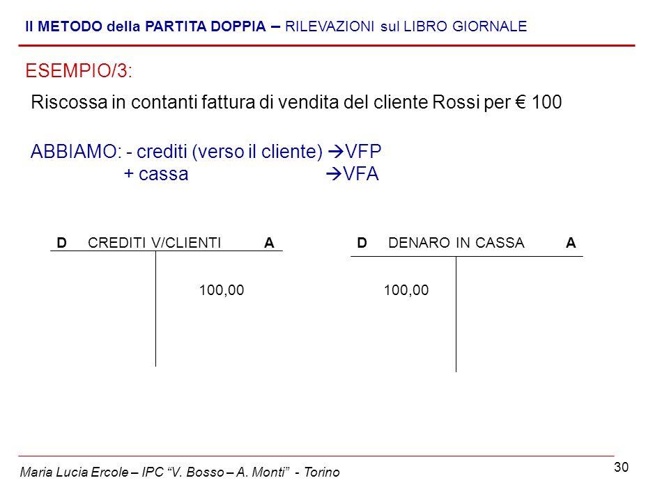 """30 Maria Lucia Ercole – IPC """"V. Bosso – A. Monti"""" - Torino Il METODO della PARTITA DOPPIA – RILEVAZIONI sul LIBRO GIORNALE Riscossa in contanti fattur"""